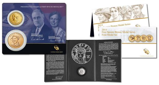 Roosevelt Set, Proof Platinum Eagle and First Spouse Medal Set