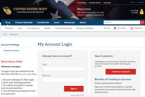 Screenshot of US Mint Account Login Page
