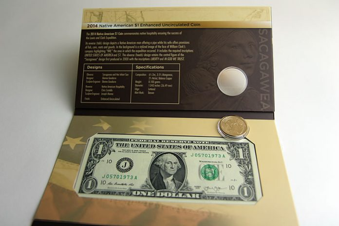 $1 Coin popped out of 2014 American $1 Coin and Currency Set