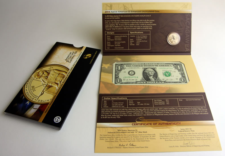 2014 American $1 Coin and Currency Set with Enhanced Sacagawea One Dollar OGP!