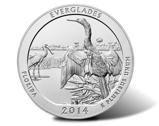 2014-P Everglades National Park Five Ounce Silver Uncirculated Coin