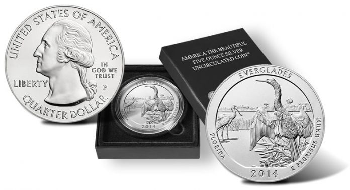 2014-P Everglades National Park Five Ounce Silver Uncirculated Coin and Presentation Case