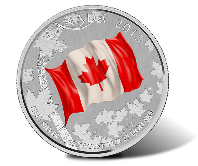 2015 $25 Canadian Flag Silver Coin for $25