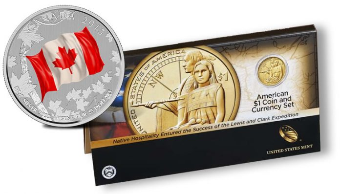 2015 $25 for $25 Canadian Flag Silver Coin and 2014 American $1 Coin and Currency Set