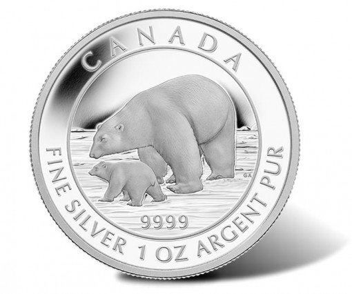 2015 $5 Polar Bear and Cub Silver Coin