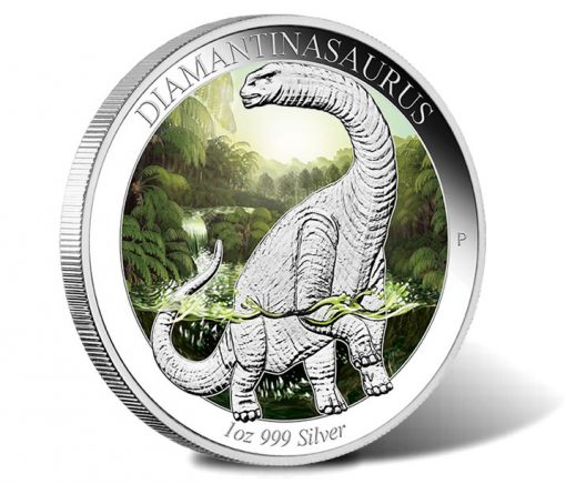 2015 Diamantinasaurus 1 oz Silver Proof Colored Coin