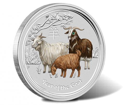 2015 Year of the Goat 1 Kilo Silver Gemstone Coin