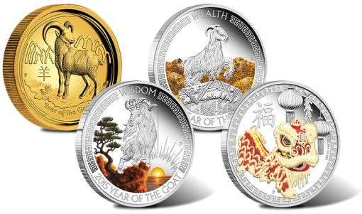 2015 Year of the Goat Coins and Chinese Lion Dance Coin