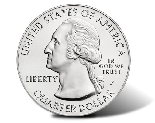 America the Beautiful Five Ounce Silver Uncirculated Coin - Obverse