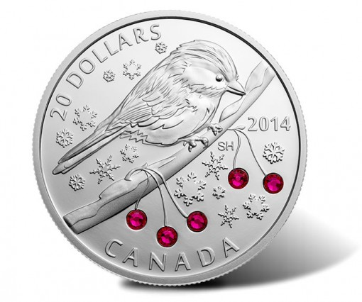 Canada 2014 $20 Chickadee with Swarovski Winter Berry Elements Silver Coin