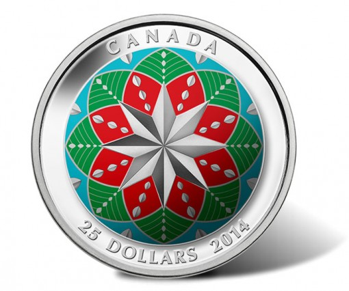 Canada 2014 $25 Christmas Ornament Silver Ultra-High Relief Colored Coin
