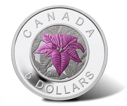 Canada 2014 $5 Poinsettia Silver Coin with Niobium Coloring