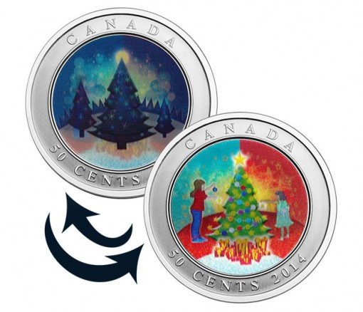Canada 2014 50c Lenticular Christmas Tree Coin