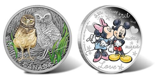 Canadian Baby Burrowing Owl Coin and Mickey and Minnie Mouse Coin