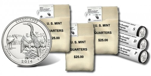 Everglades National Park Quarters in US Mint bag and roll products