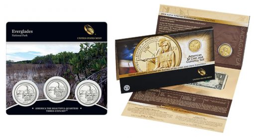 Everglades Quarters Three-Coin Set, Native American $1 Coin and Currency Set