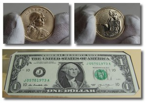 Money of the 2014 American $1 Coin and Currency Set.