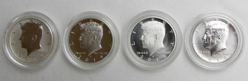 Photo of the four coins in the 2014 50th Anniversary Kennedy Half-Dollar Silver Coin Collection