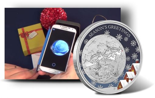 Smartphone and Australian 2014 50c Christmas Silver Proof Coin