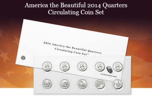 US Mint promotion image of its 2014 America the Beautiful Quarters Circulating Coin Set