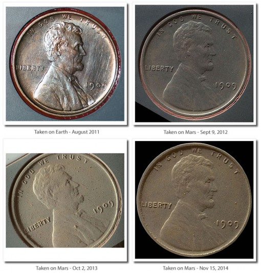 1909 VDB Lincoln Cent Photos on Mars from Rover Curiosity