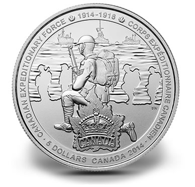 2014 $5 First World War - Canadian Expeditionary Force Silver Coin