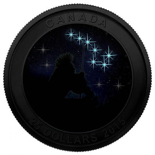 2015 Canada $25 The Quest Star Charts Silver Coin in dark