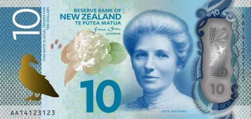 New Zealand $10 Note Featuring Kate Sheppard