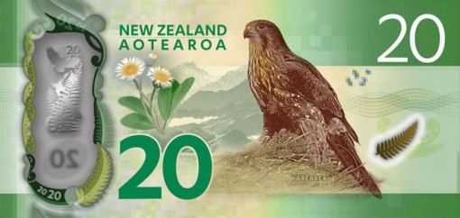 New Zealand $20 Note - Back