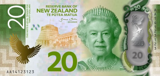 New Zealand $20 Note Featuring Queen Elizabeth II