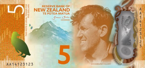 New Zealand $5 Note Featuring Sir Edmund Hillary