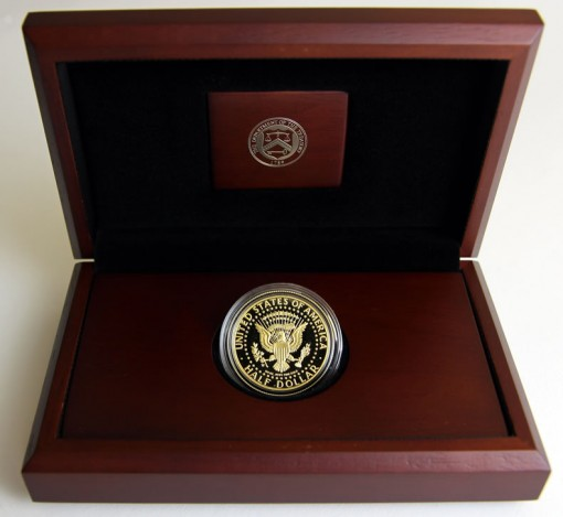 Presentation case and reverse of 1964-2014 Proof 50th Anniversary Kennedy Half-Dollar Gold Coin