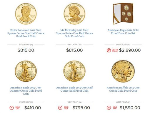 Screen shot of a section of US Mint website showing sold out products