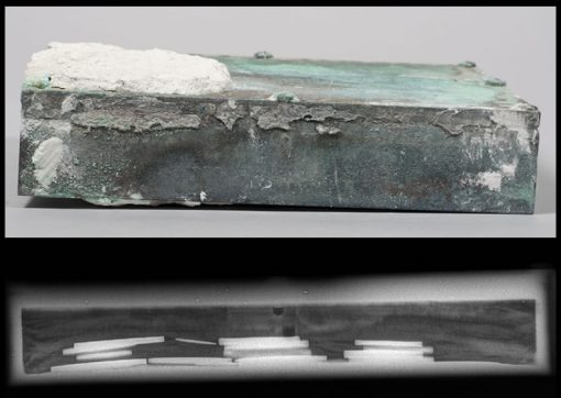 Time capsule box from State House in Boston (top) and x-ray of it (bottom)