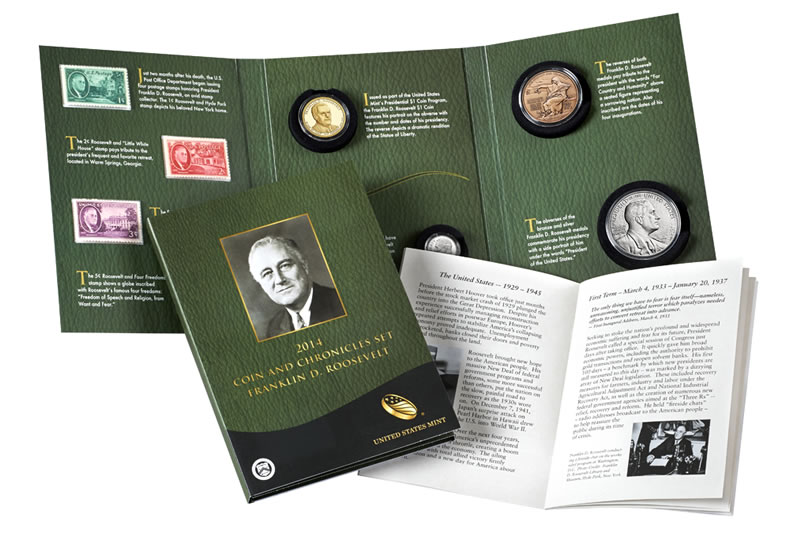 US Mint Image Of The 2014 Franklin D Roosevelt Coin And Chronicles Set