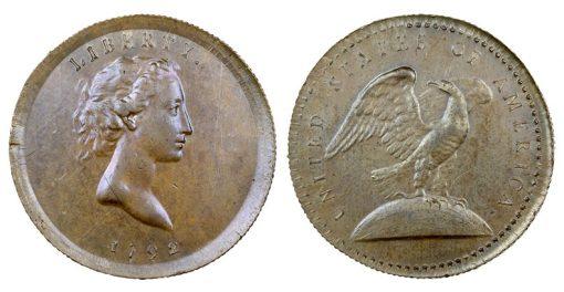 1792 Eagle-on-Globe Copper Quarter Dollar