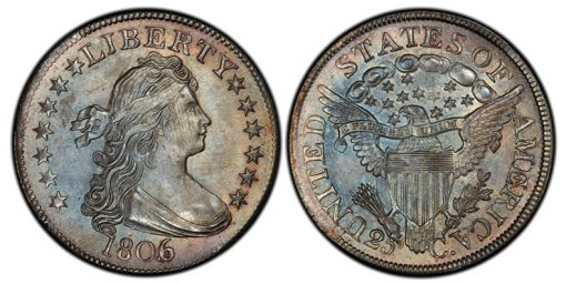 1806 over 5 Draped Bust Quarter PCGS MS66