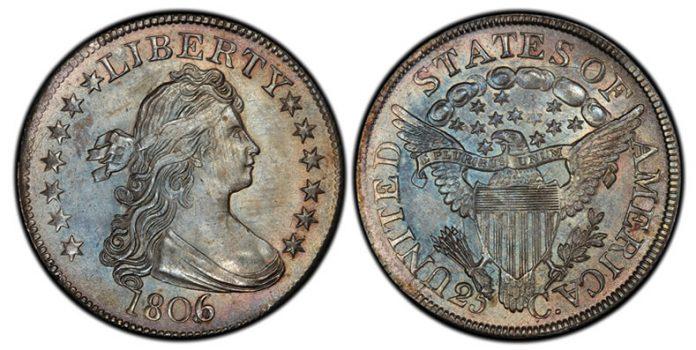 1806 over 5 Draped Bust Quarter PCGS MS66