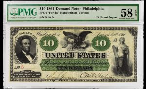 1861 $10 Demand Note