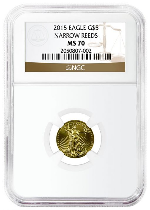 2015 $5 Gold Eagle with Narrow Reeds Variety