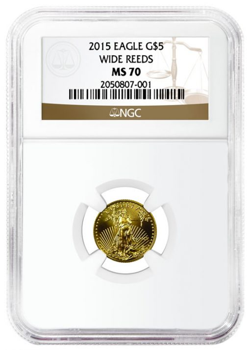 2015 $5 Gold Eagle with Wide Reeds Variety