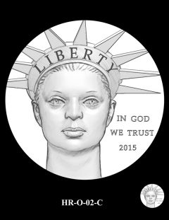 2015 High Relief 24K Gold Coin Candidate Design, HR-O-02-C