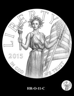 2015 High Relief 24K Gold Coin Candidate Design, HR-O-11-C