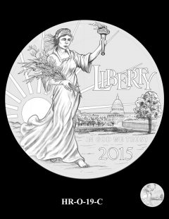 2015 High Relief 24K Gold Coin Candidate Design, HR-O-19-C