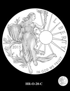 2015 High Relief 24K Gold Coin Candidate Design, HR-O-20-C