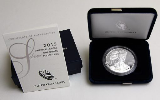 2015-W Proof American Silver Eagle, Presentation Case and Certificate of Authenticity