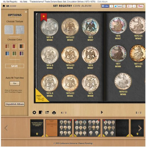 Control Panel of PCGS Digital Coin Album