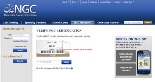 NGC online page to verify coin certification