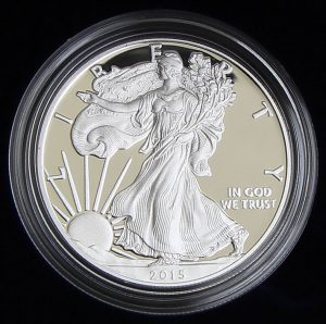Photo of a 2015-W Proof American Silver Eagle (Obverse Side)