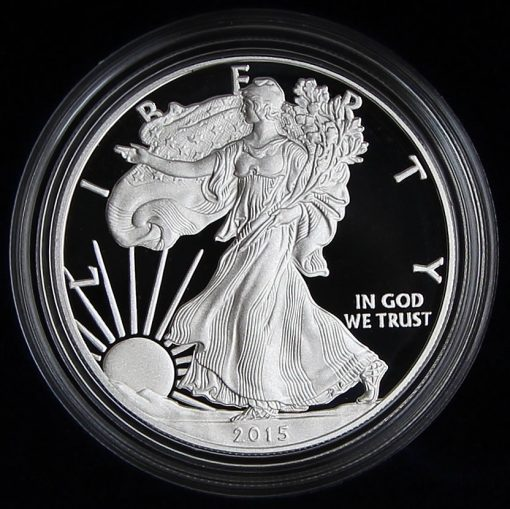 Photo of a 2015-W Proof American Silver Eagle (Obverse Side), a